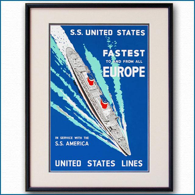 1952年 USL 客船ユナイテッドステーツのポスター 2031LL