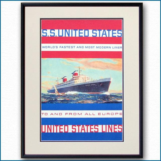 1952年 USL 客船ユナイテッドステーツのポスター 2032LL