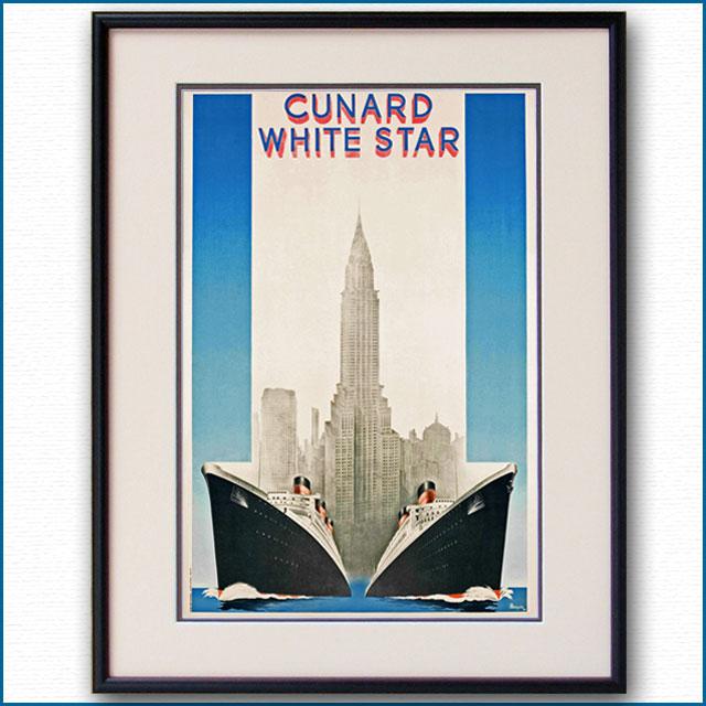 1939年 キュナードホワイトスター 客船クイーンメリー クイーンエリザベスのポスターのポスター 2033LL