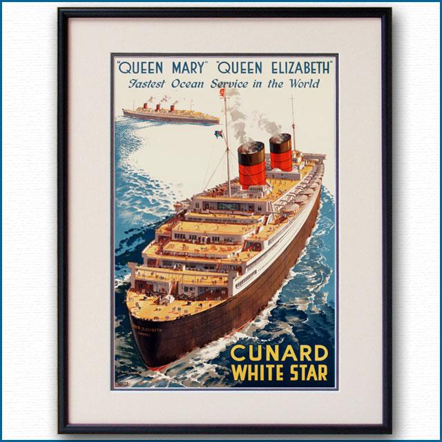1947年 ウォルター・トーマス 客船クイーンエリザベス・クイーンメリーのポスター 2034LL