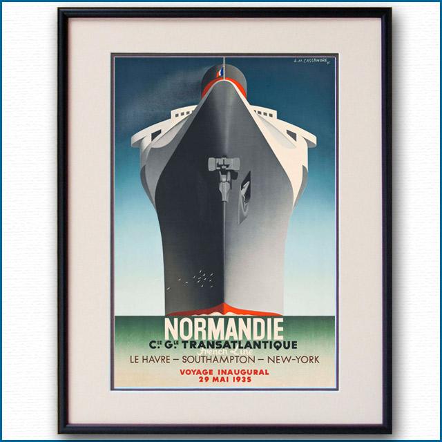 1935年 カッサンドル 客船ノルマンディーのポスター 2074LL
