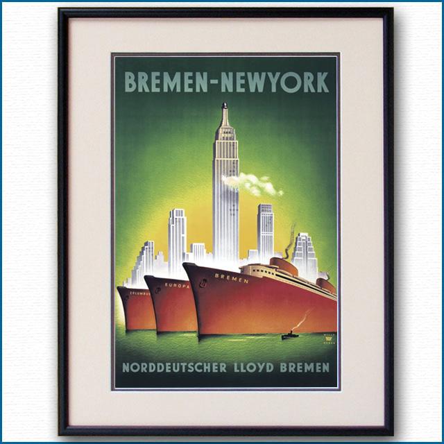1935年 W・ハンケ 客船ブレーメン オイローパのポスター 2083LL