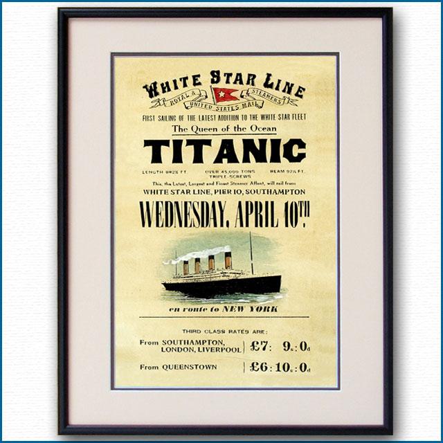 1912年 タイタニック 4月10日出帆・西航のポスター 2085LL