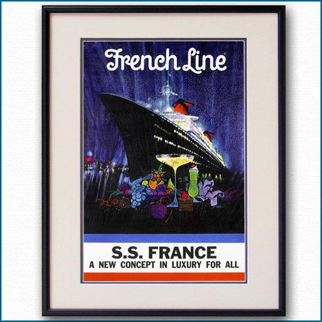 1961年 ボブ・ピーク 客船フランスのポスター 2116LL