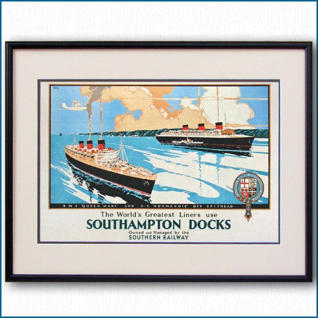 1938年 英SR鉄道サウサンプトンドックのポスター 2132LL