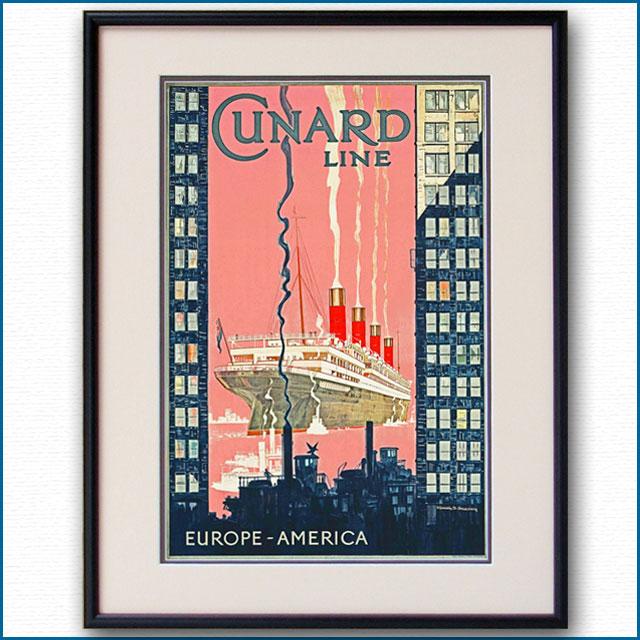 1929年 キュナード 客船アキタニアのポスター 2271LL