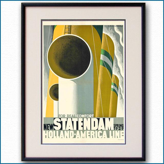 1929年 カッサンドル 客船スタテンダムのポスター 2450LL