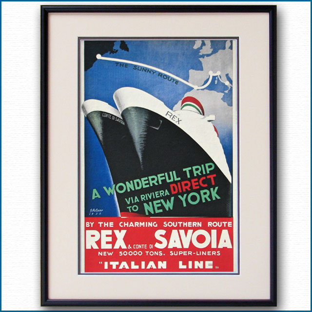 1932年 客船レックス コンテ・ディ・サヴォアのポスター 2463LL