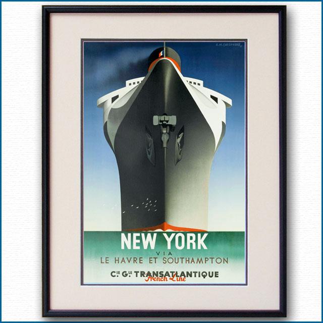 1935年 カッサンドル ノルマンディーのポスター NEW YORK 2591LL