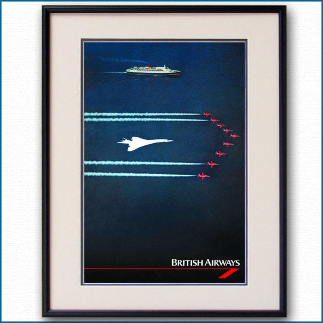 1995年 ブリティッシュエアウェイズ コンコルド・客船クイーンエリザベス2のポスター 2609LL