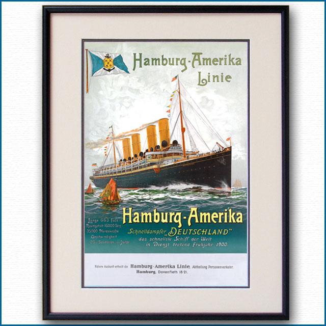 1901年 ハンブルク・アメリカライン 客船ドイチェラントのポスター 2665LL