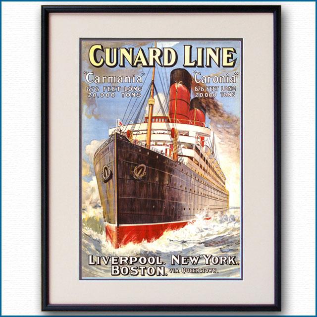 1905年 キュナード 客船カーマニア・カロニアのポスター 2681LL