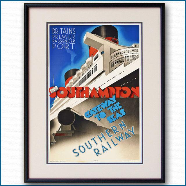 1939年 英SR鉄道・客船クイーンエリザベスのポスター 2764LL