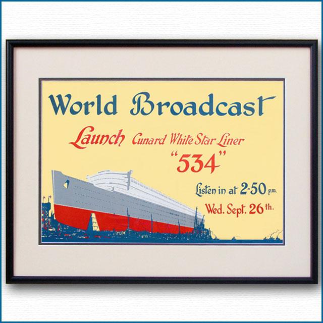 1934年 客船クイーンメリー進水式のポスター 2765LL