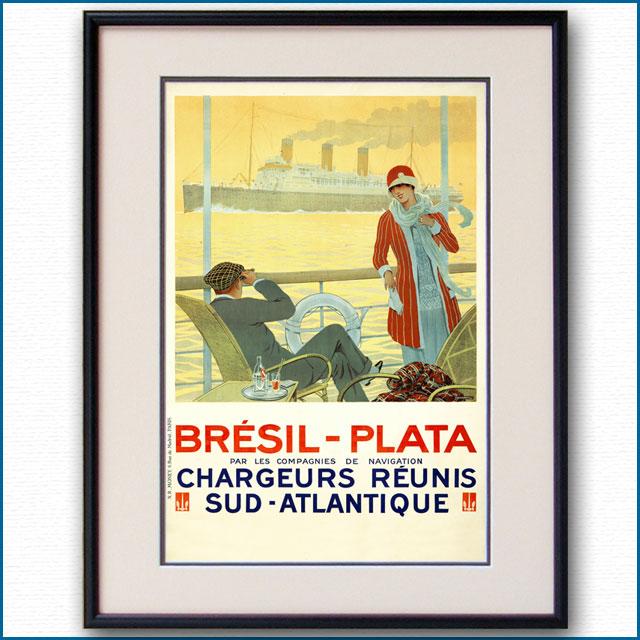 1928年 サンディ・フック 仏連合貨物郵船会社のポスター 2974LL