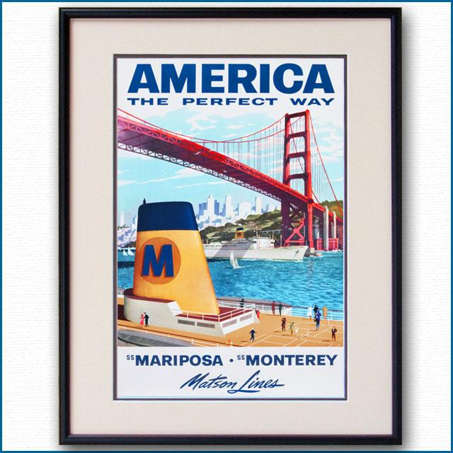 1955年 ルイ・マクーリアル 客船マリポサ モントレイのポスター 3066LL