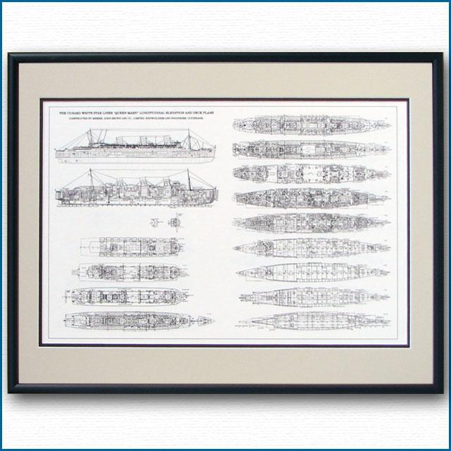 客船クイーンメリーの一般配置図、額入りアートポスター 2477XL