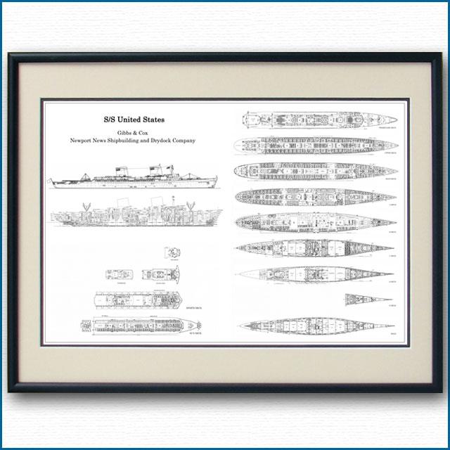 客船ユナイテッドステーツの一般配置図、額入りアートポスター 2693XL