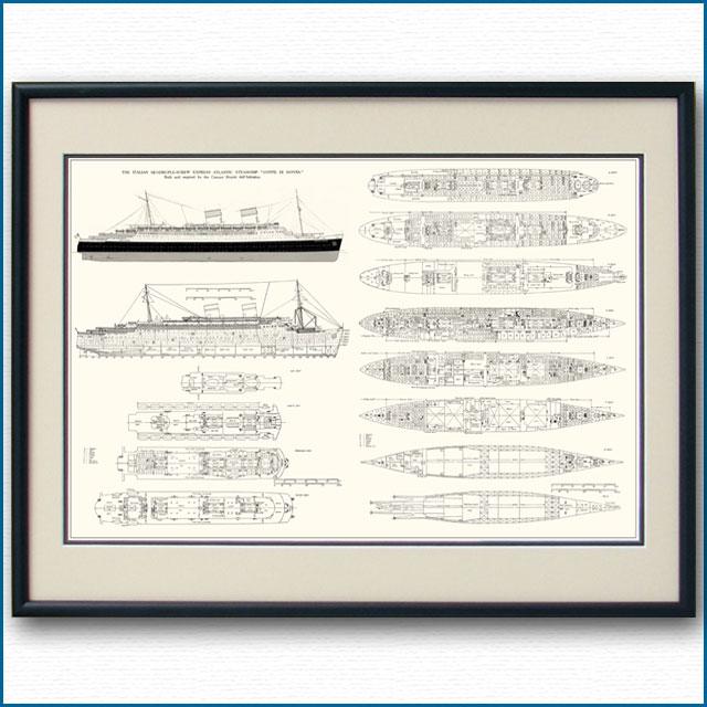 客船コンテ・ディ・サヴォアの一般配置図、額入りアートポスター 2703XL