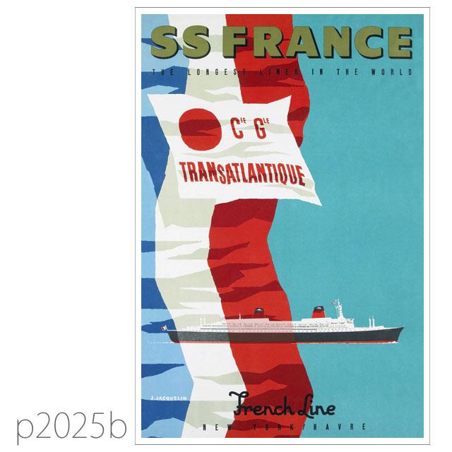 フレンチライン・客船フランス(1962)のポスター ポストカード