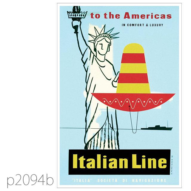 イタリアンライン・客船クリストファー・コロンボのポスター ポストカード