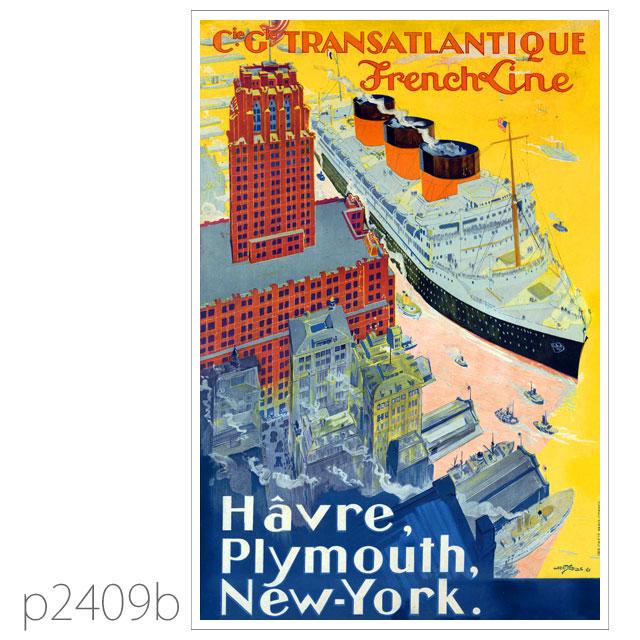 フレンチライン・客船イル・ド・フランスのポスター ポストカード
