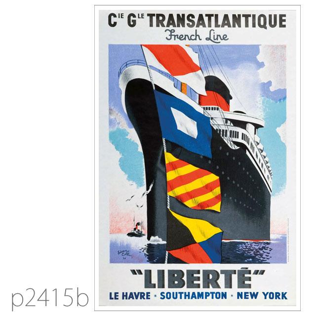 フレンチライン・客船リベルテのポスター ポストカード