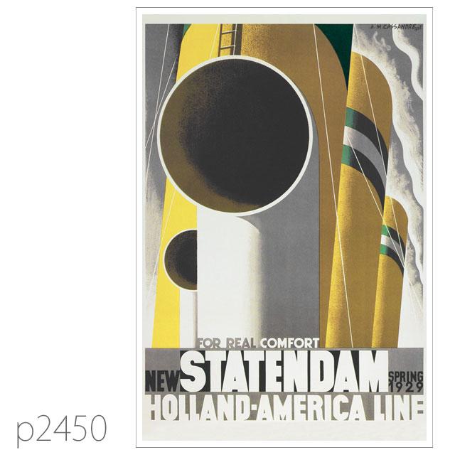 ホ-ランドアメリカライン・客船スタテンダムのポスター ポストカード