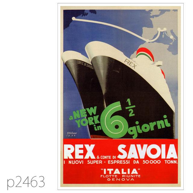 イタリアンライン・客船コンテ・ディ・サヴォアのポスター ポストカード