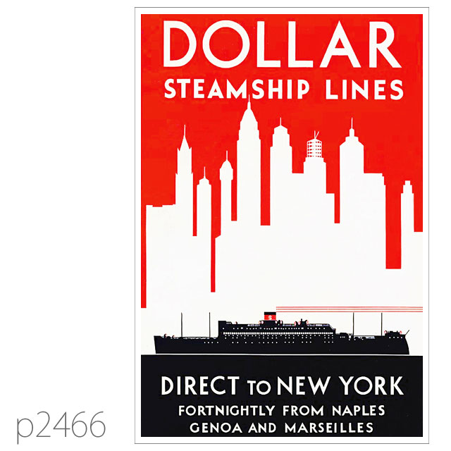 ダラーライン・535型客船のポスター ポストカード