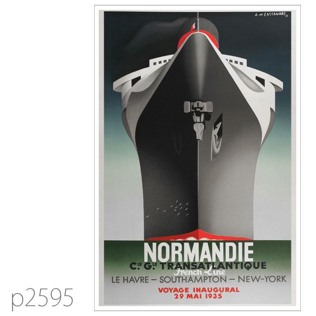 フレンチライン・客船ノルマンディーのポスター ポストカード