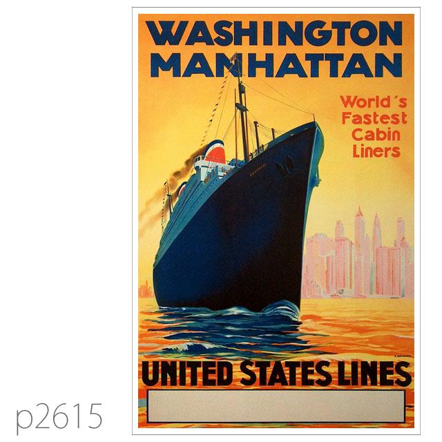 ユナイテッドステーツライン・客船ワシントン、マンハッタンのポスター ポストカード