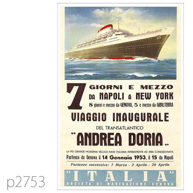 イタリアンライン・客船アンドレア・ドリアのポスター ポストカード