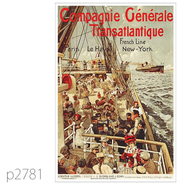 フレンチライン・客船サヴォア、ロレーヌのポスター ポストカード
