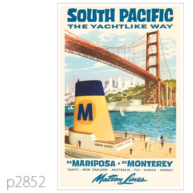 マトソンライン・客船マリポサ級のポスター(戦後) ポストカード