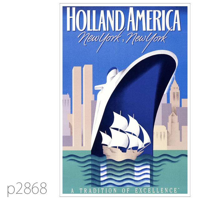ホ-ランドアメリカライン・客船ロッテルダム(1959)のポスター ポストカード